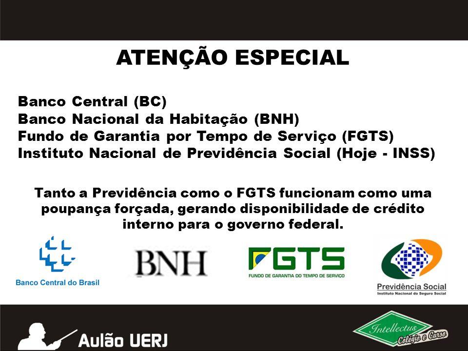 ATENÇÃO ESPECIAL Banco Central (BC) Banco Nacional da Habitação (BNH)