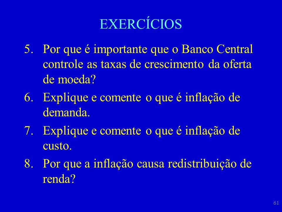 EXERCÍCIOS Por que é importante que o Banco Central controle as taxas de crescimento da oferta de moeda