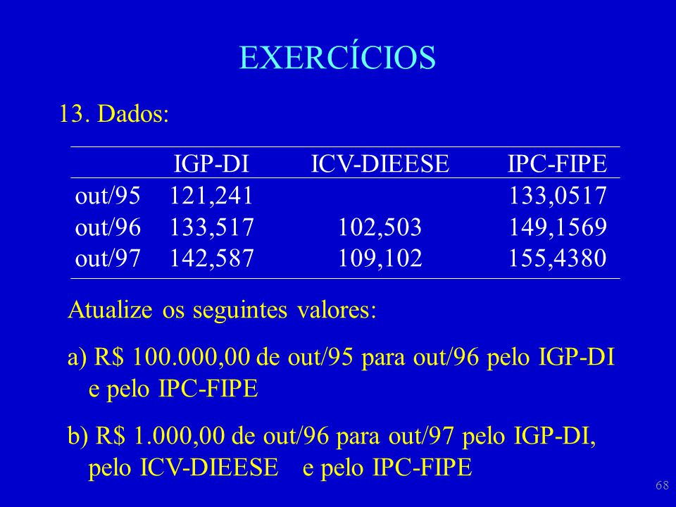 EXERCÍCIOS Dados: