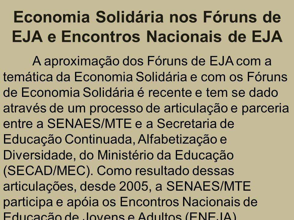 Economia Solidária nos Fóruns de EJA e Encontros Nacionais de EJA