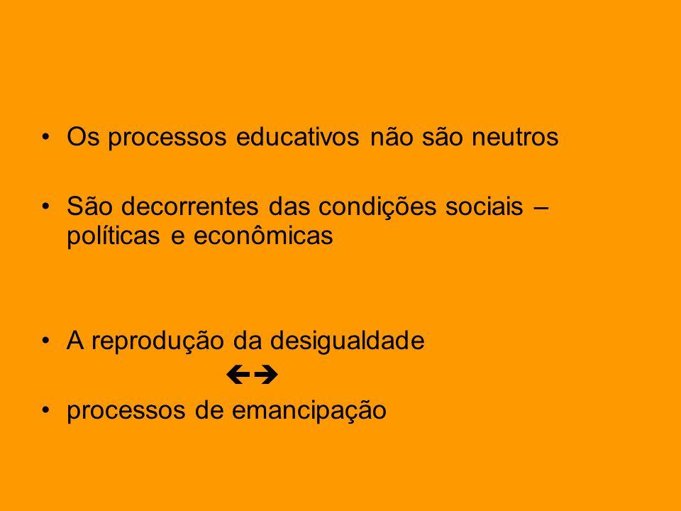 Os processos educativos não são neutros