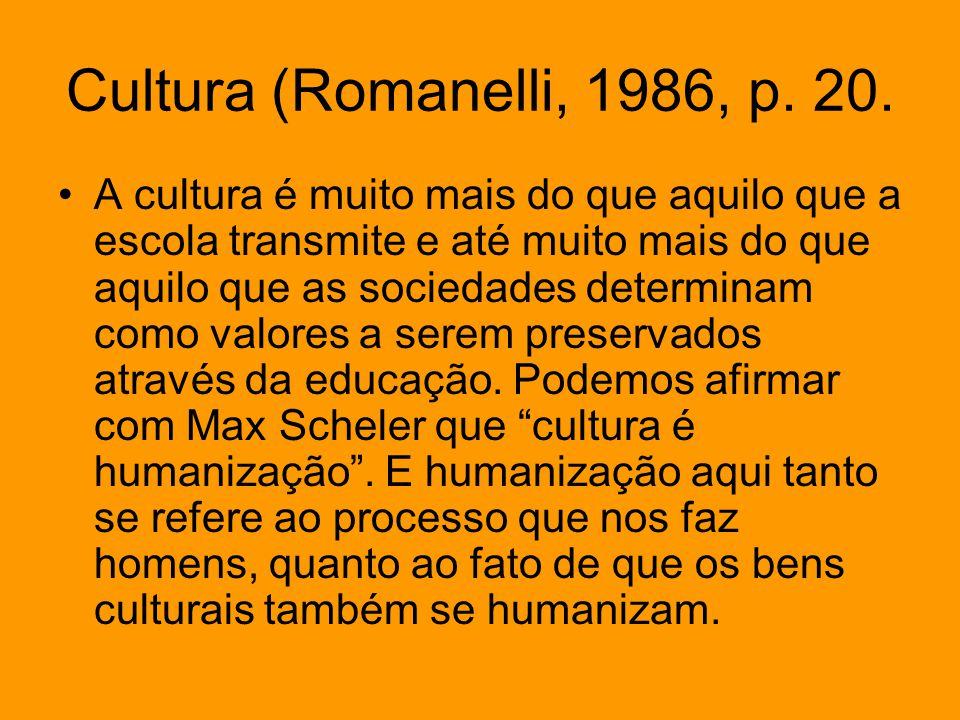 Cultura (Romanelli, 1986, p. 20.