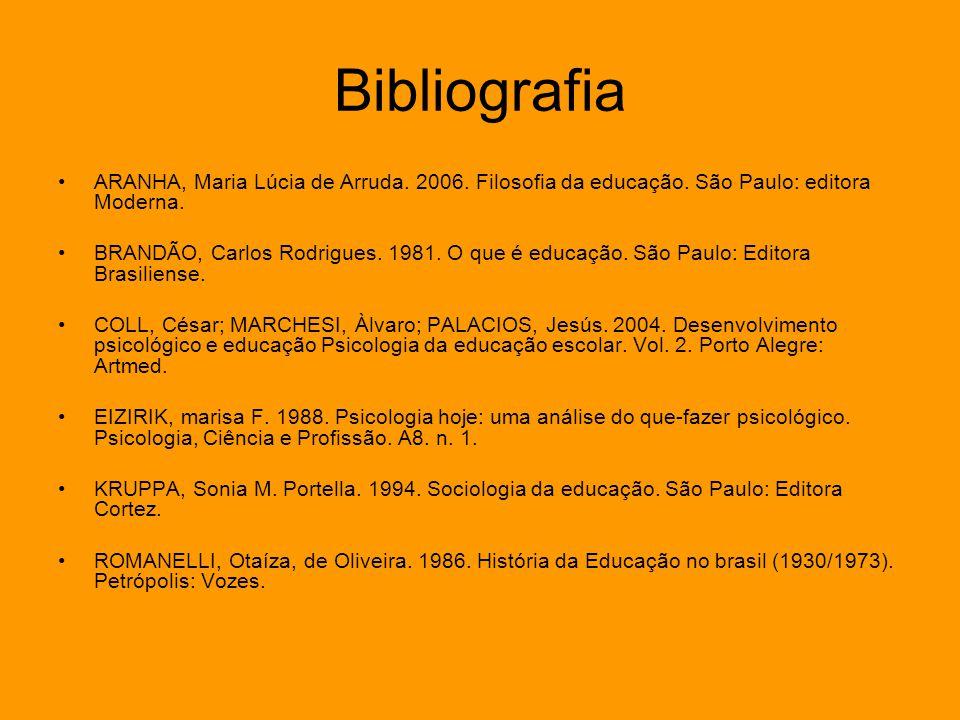 Bibliografia ARANHA, Maria Lúcia de Arruda. 2006. Filosofia da educação. São Paulo: editora Moderna.