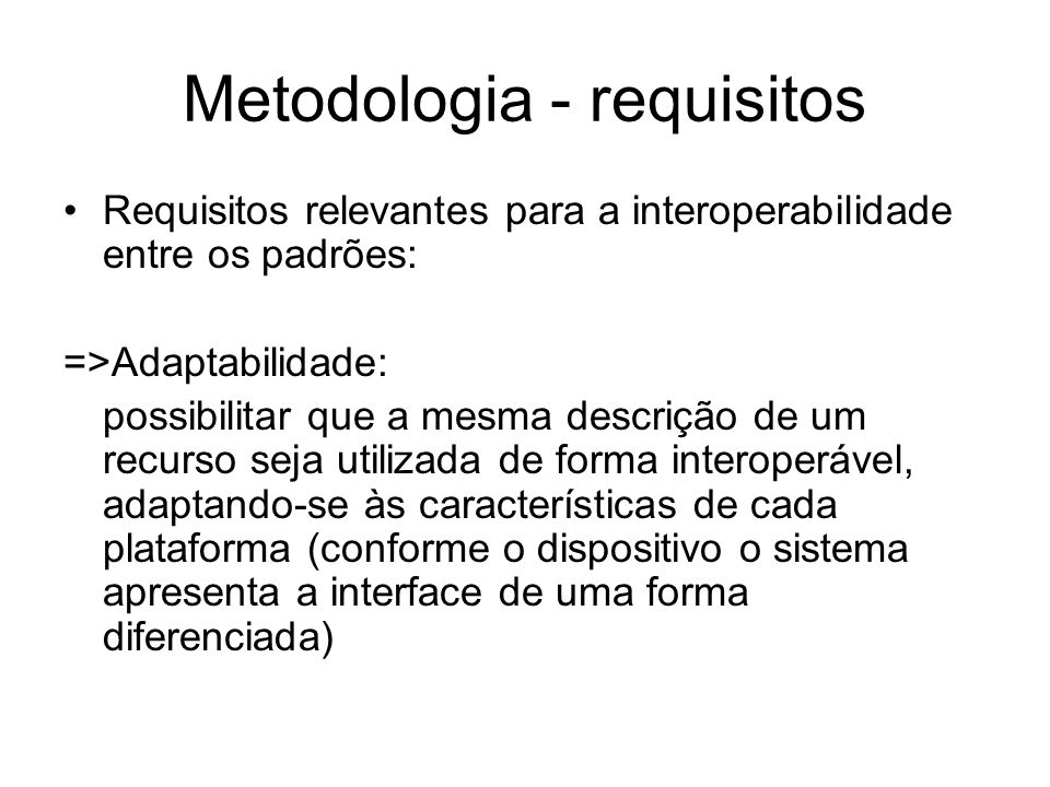 Metodologia - requisitos