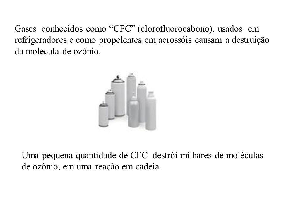 Gases conhecidos como CFC (clorofluorocabono), usados em refrigeradores e como propelentes em aerossóis causam a destruição da molécula de ozônio.