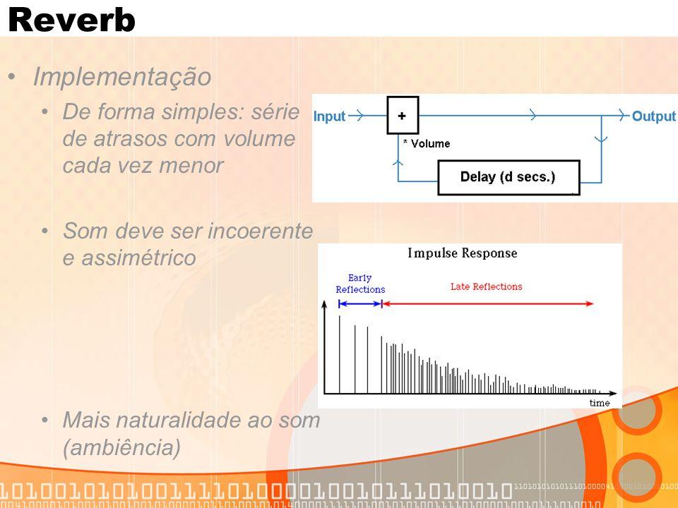 Reverb Implementação. De forma simples: série de atrasos com volume cada vez menor. Som deve ser incoerente e assimétrico.