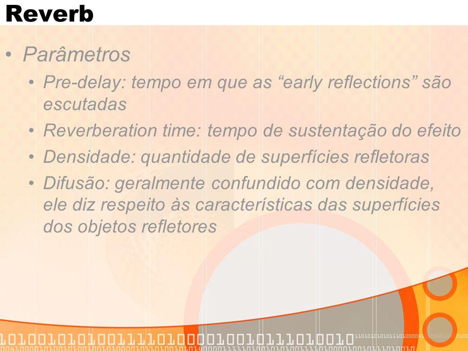 Reverb Parâmetros. Pre-delay: tempo em que as early reflections são escutadas. Reverberation time: tempo de sustentação do efeito.