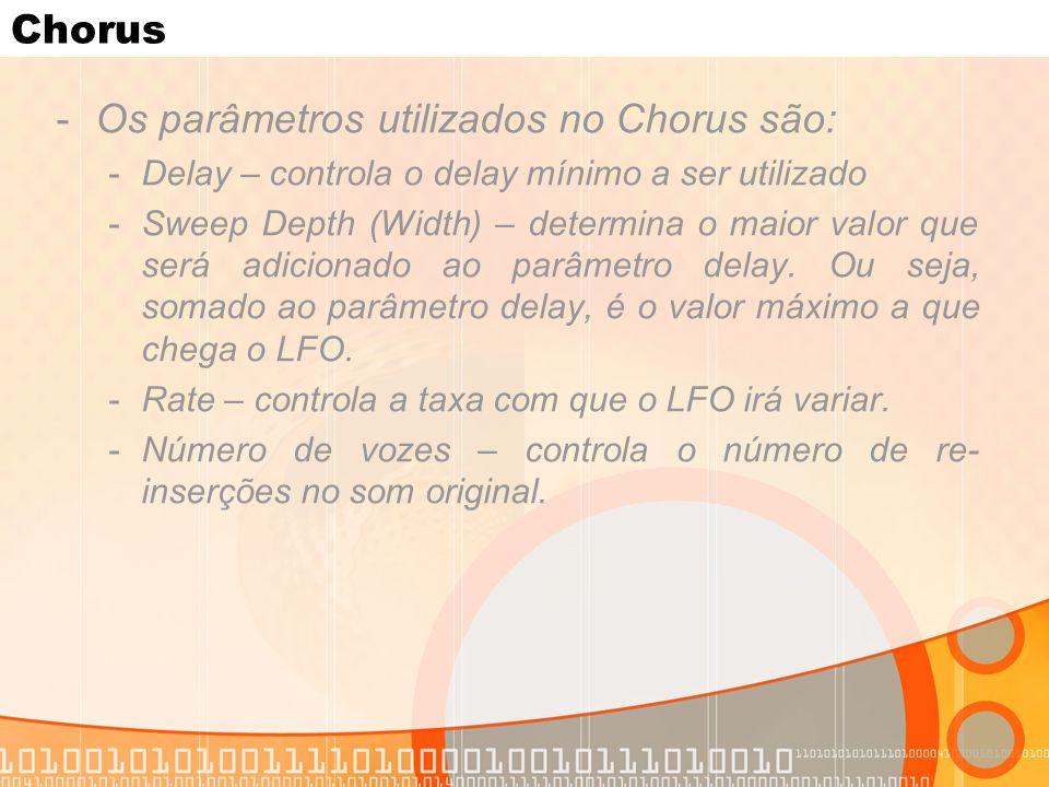 Os parâmetros utilizados no Chorus são: