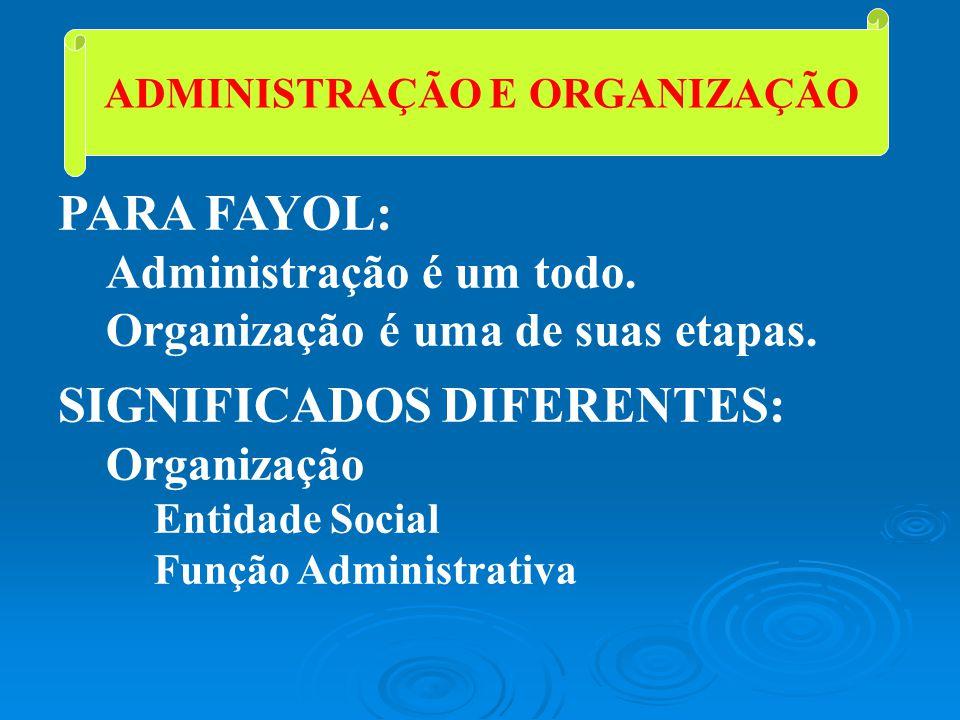 ADMINISTRAÇÃO E ORGANIZAÇÃO