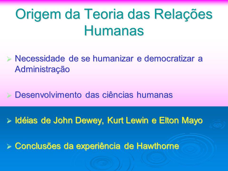 Origem da Teoria das Relações Humanas