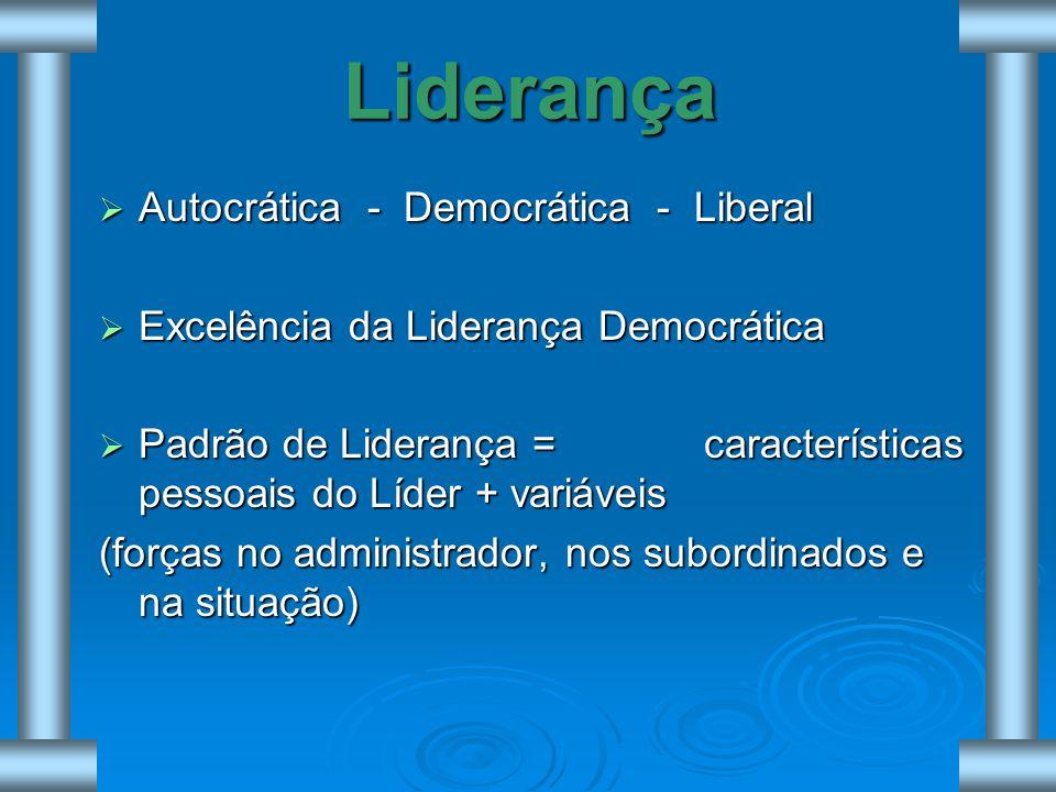 Liderança Autocrática - Democrática - Liberal