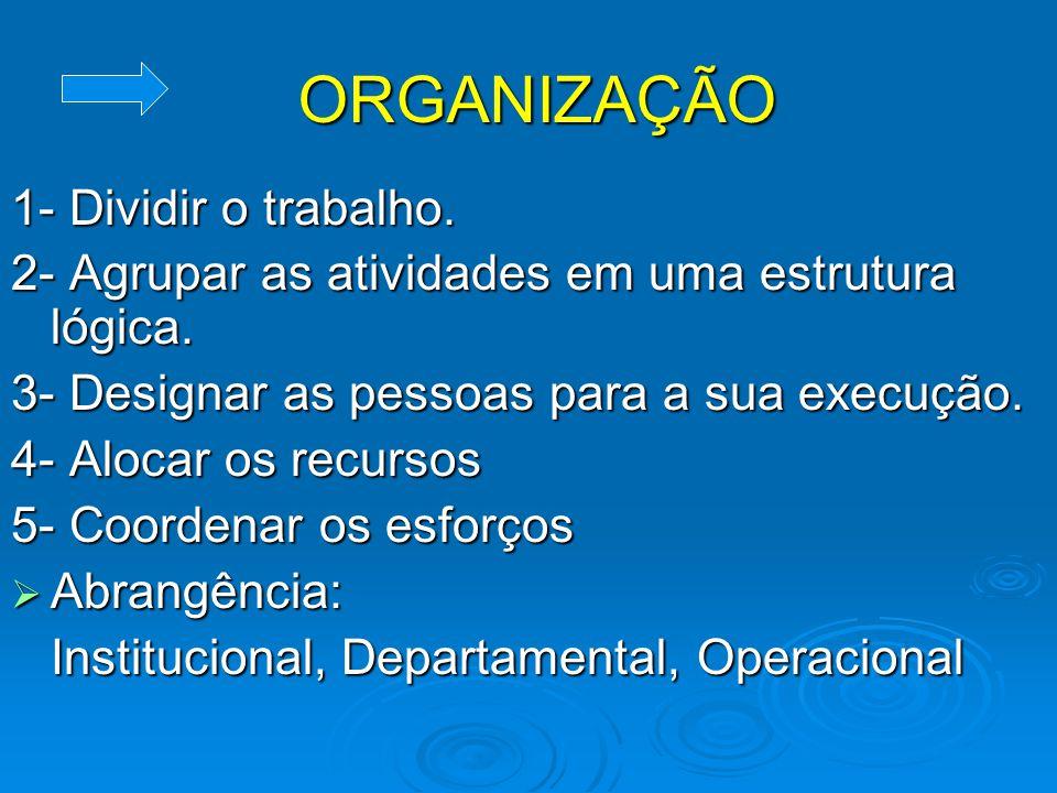 ORGANIZAÇÃO 1- Dividir o trabalho.