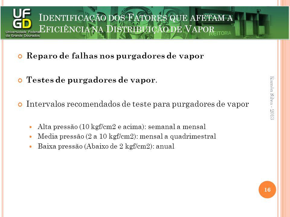 Reparo de falhas nos purgadores de vapor