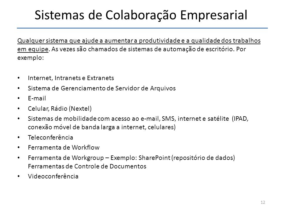 Sistemas de Colaboração Empresarial