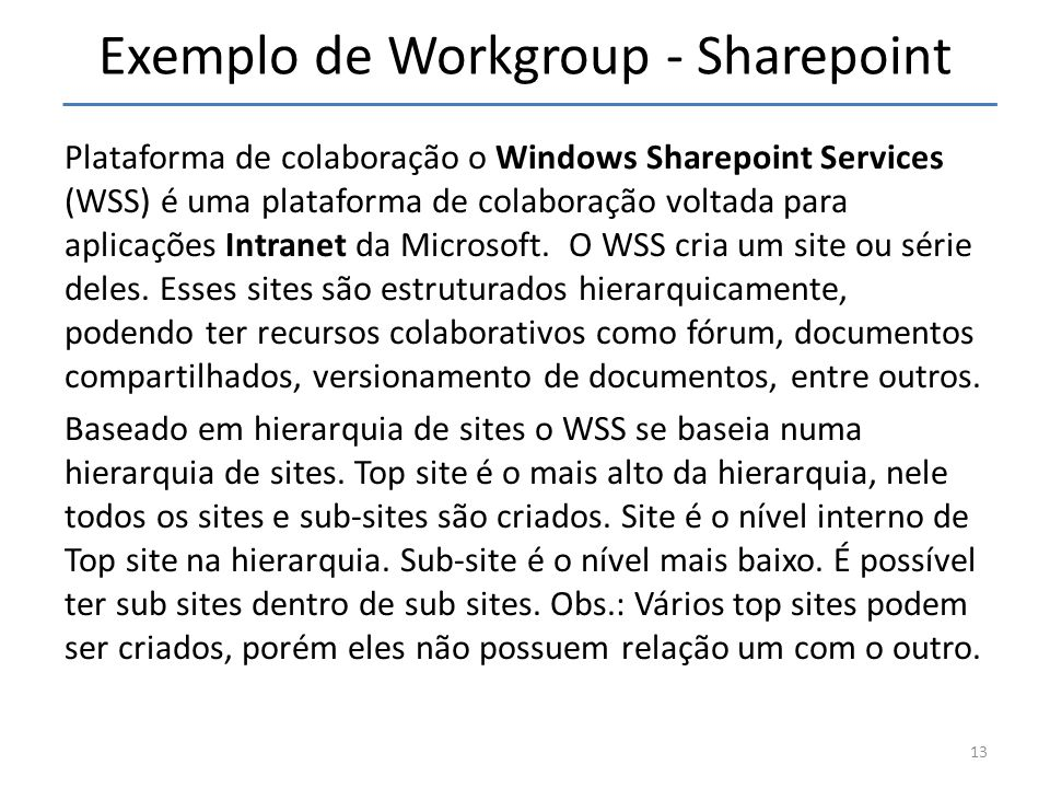 Exemplo de Workgroup - Sharepoint