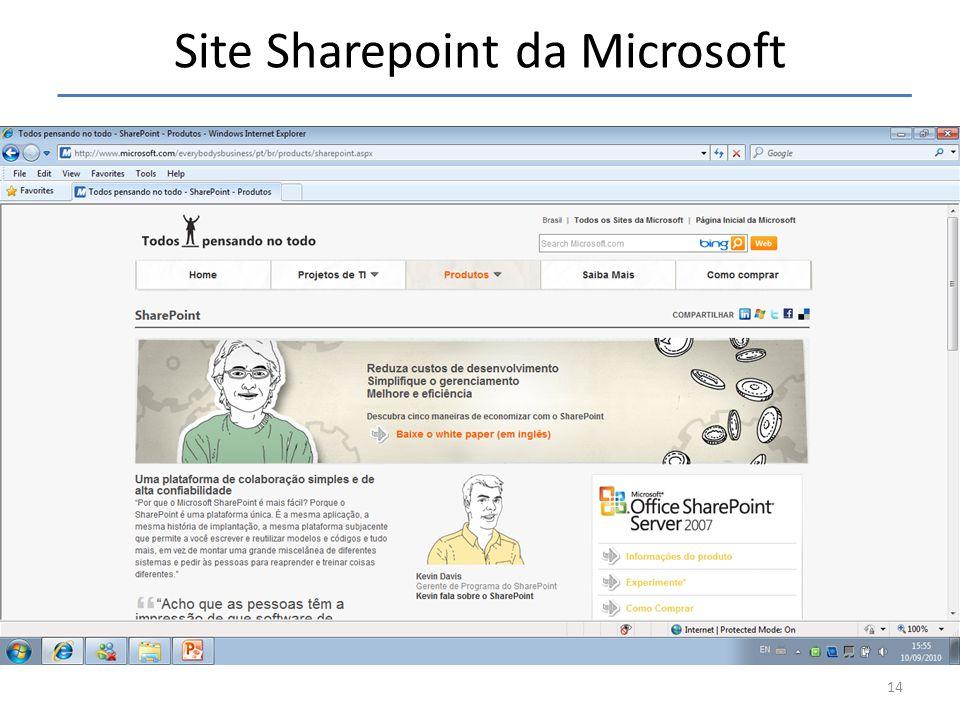 Site Sharepoint da Microsoft