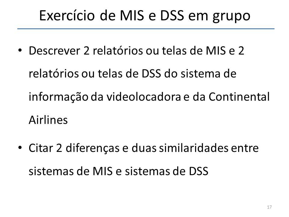 Exercício de MIS e DSS em grupo