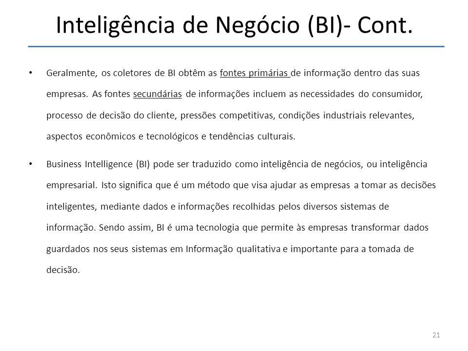 Inteligência de Negócio (BI)- Cont.