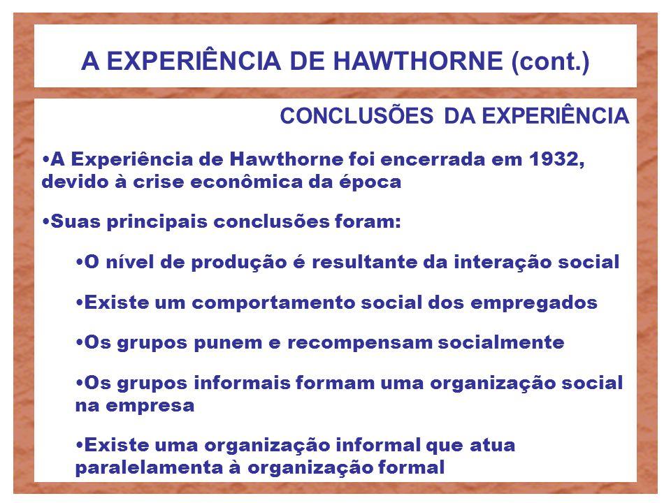 A EXPERIÊNCIA DE HAWTHORNE (cont.)
