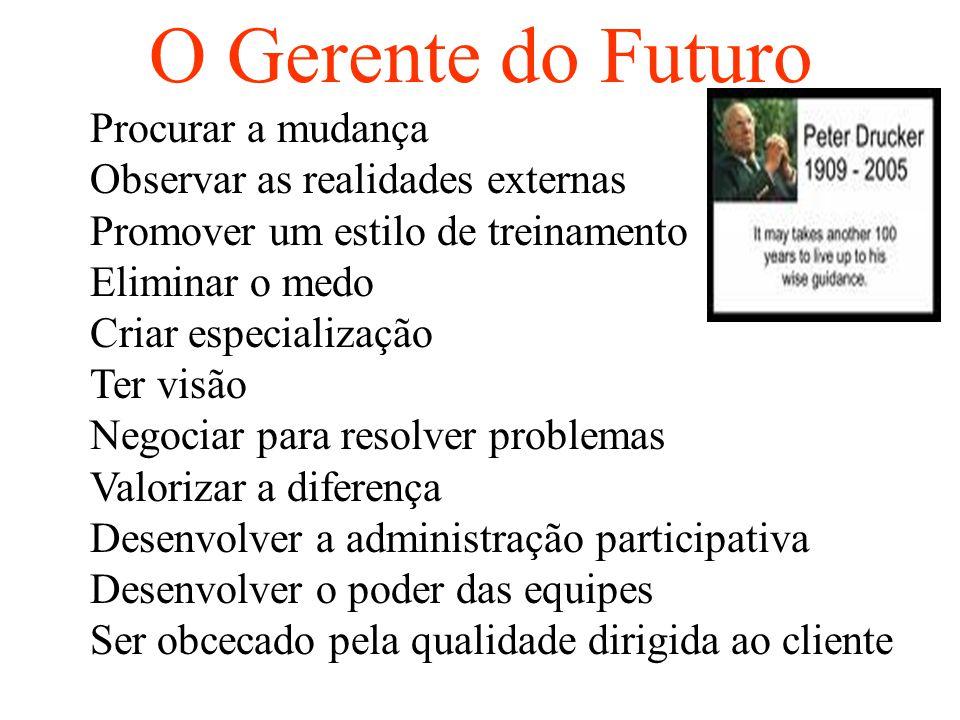 O Gerente do Futuro Procurar a mudança Observar as realidades externas