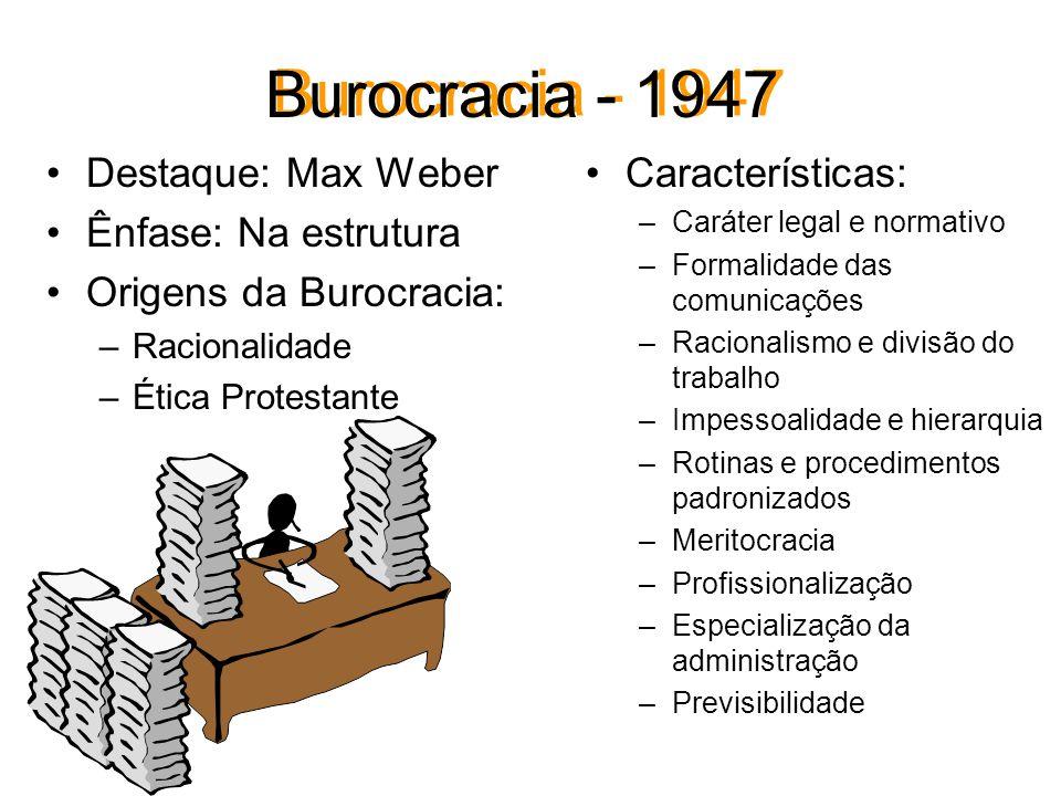 Burocracia - 1947 Destaque: Max Weber Ênfase: Na estrutura