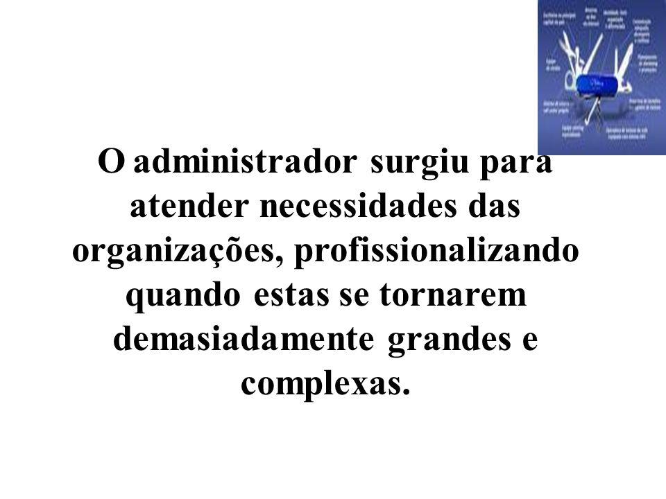 O administrador surgiu para atender necessidades das organizações, profissionalizando quando estas se tornarem demasiadamente grandes e complexas.