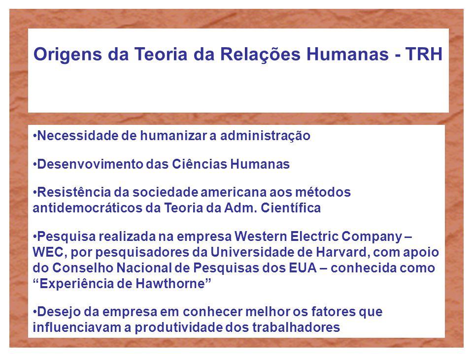 Origens da Teoria da Relações Humanas - TRH