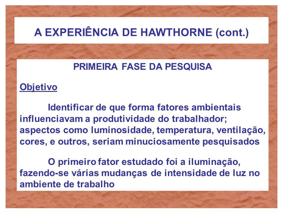 A EXPERIÊNCIA DE HAWTHORNE (cont.) PRIMEIRA FASE DA PESQUISA