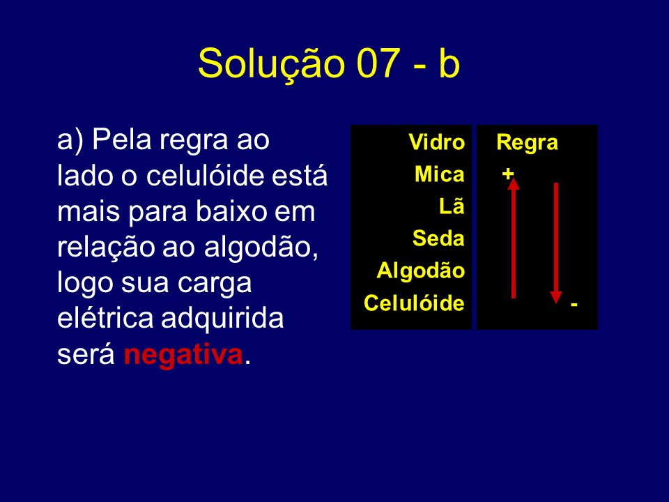 Solução 07 - b a) Pela regra ao lado o celulóide está mais para baixo em relação ao algodão, logo sua carga elétrica adquirida será negativa.