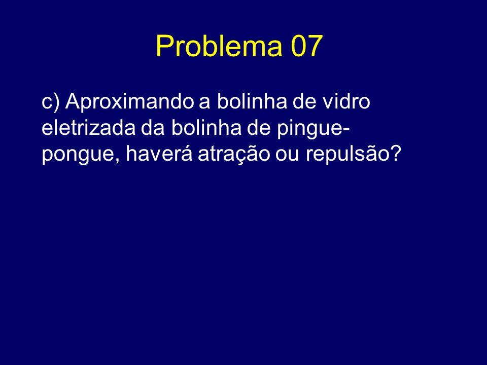 Problema 07 c) Aproximando a bolinha de vidro eletrizada da bolinha de pingue-pongue, haverá atração ou repulsão