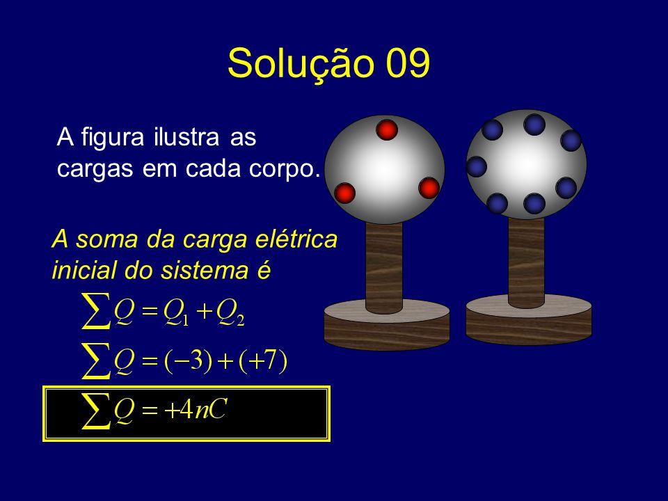 Solução 09 A figura ilustra as cargas em cada corpo.