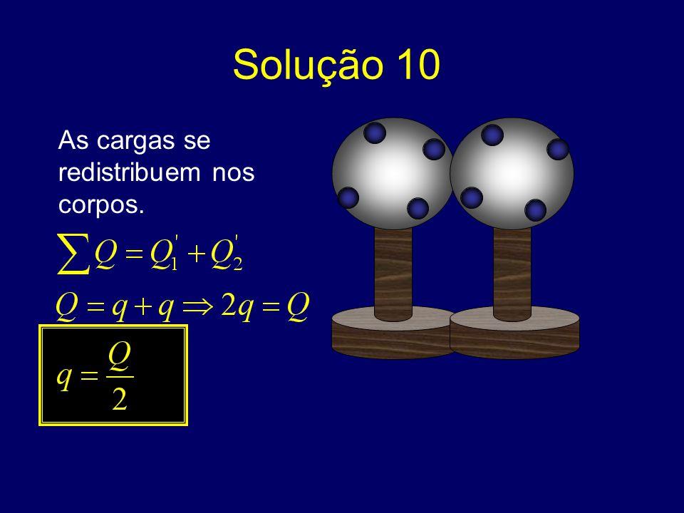 Solução 10 As cargas se redistribuem nos corpos.