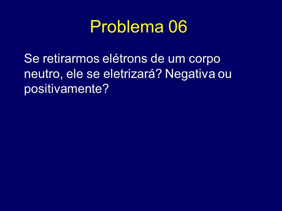 Problema 06 Se retirarmos elétrons de um corpo neutro, ele se eletrizará.