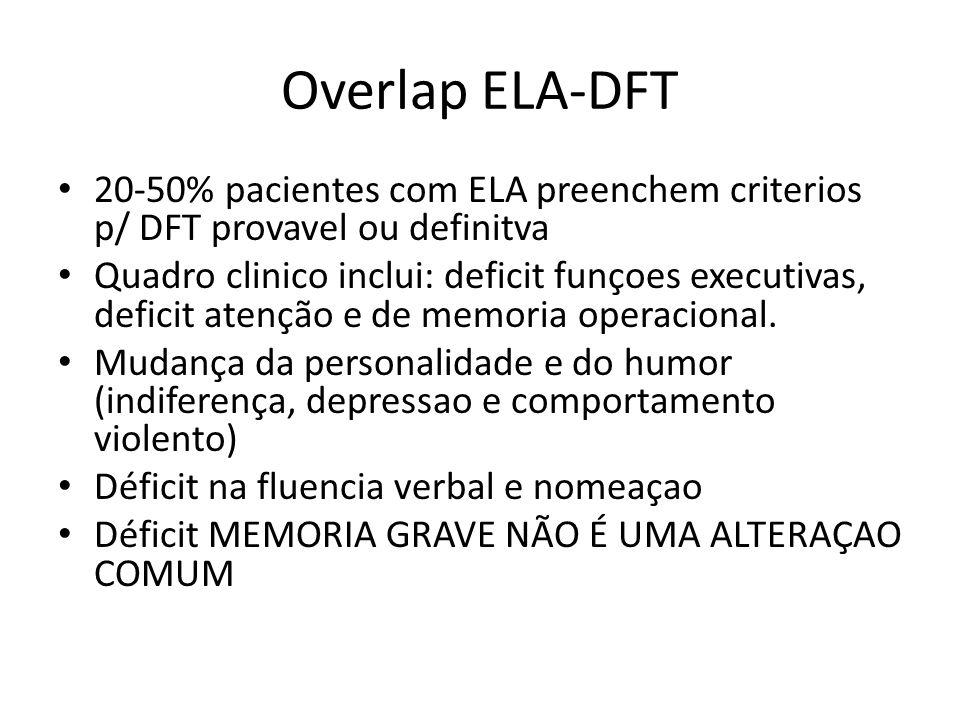 Overlap ELA-DFT 20-50% pacientes com ELA preenchem criterios p/ DFT provavel ou definitva.