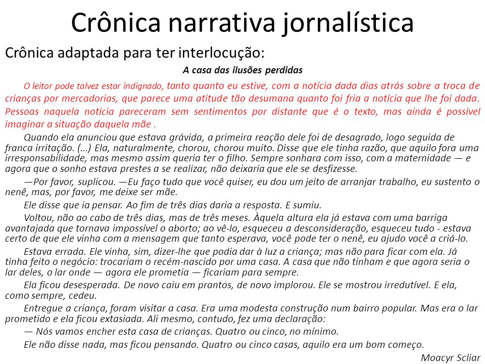 Crônica narrativa jornalística