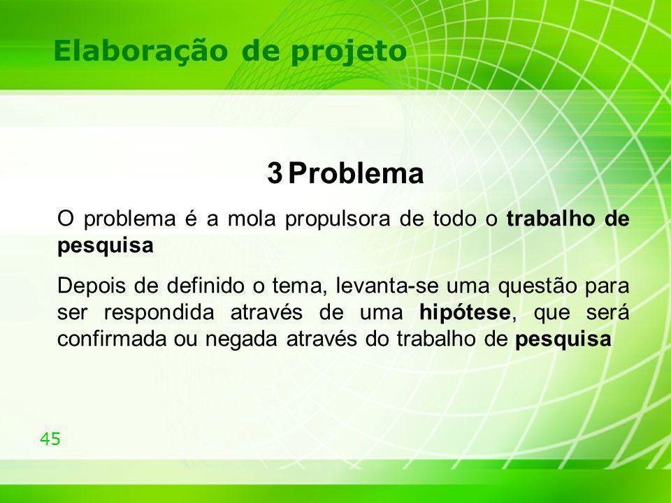 Elaboração de projeto 3 Problema. O problema é a mola propulsora de todo o trabalho de pesquisa.
