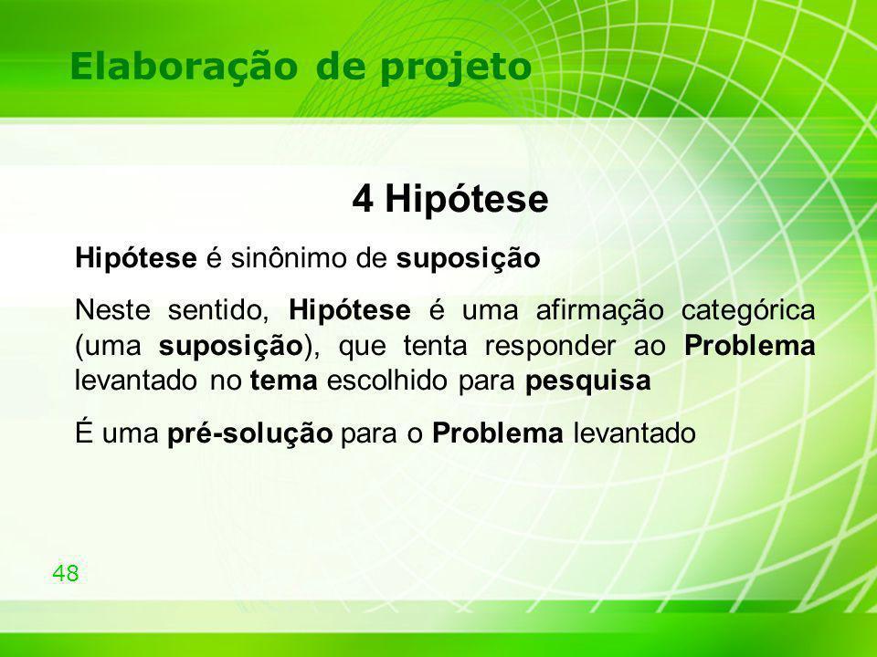 4 Hipótese Elaboração de projeto Hipótese é sinônimo de suposição