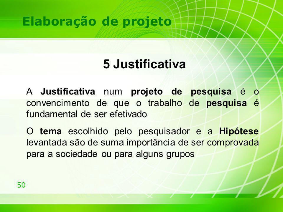 5 Justificativa Elaboração de projeto