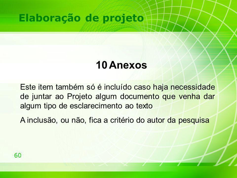 Elaboração de projeto 10 Anexos.