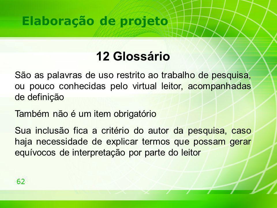 12 Glossário Elaboração de projeto