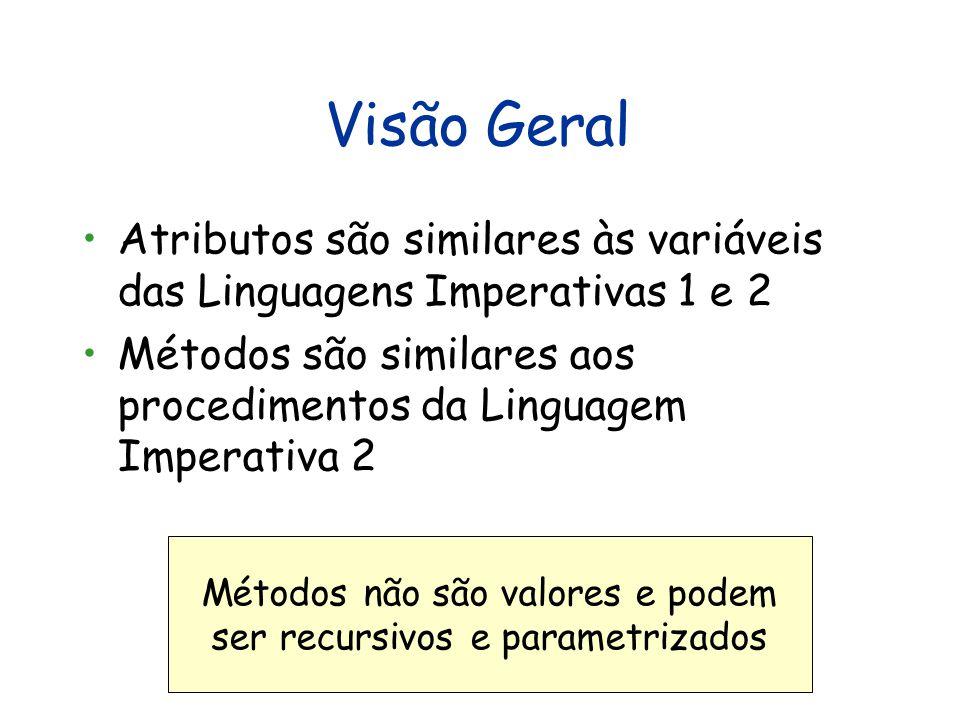 Visão Geral Atributos são similares às variáveis das Linguagens Imperativas 1 e 2.