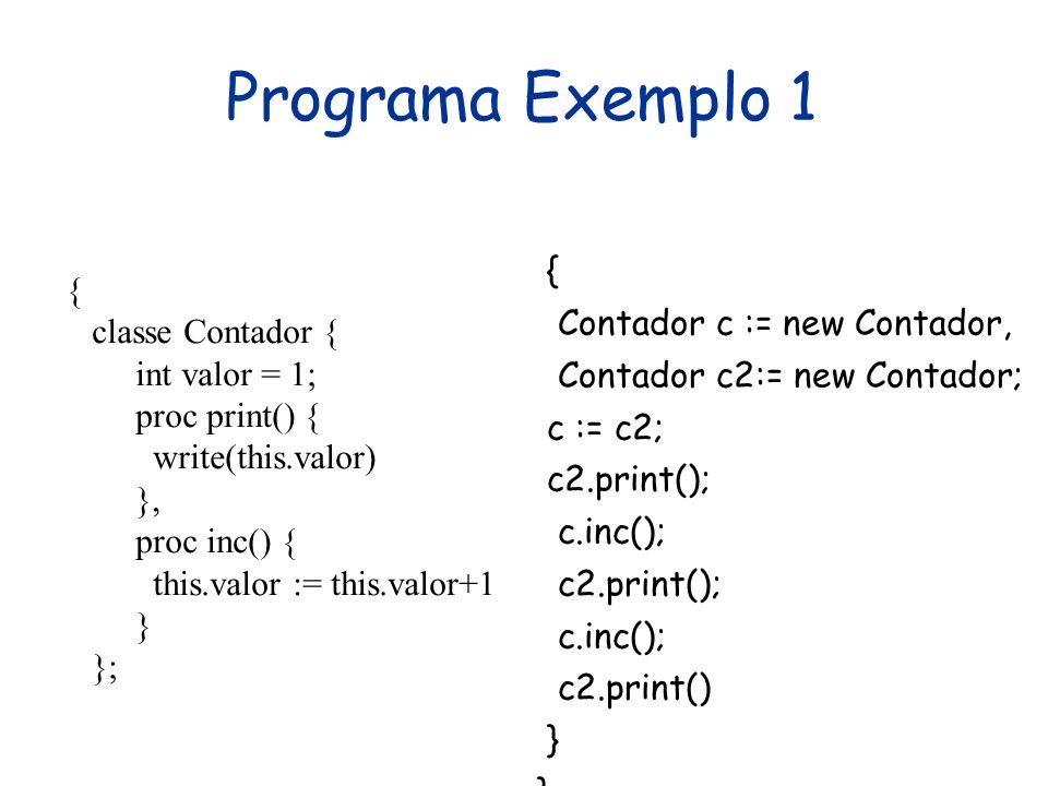 Programa Exemplo 1 { classe Contador { { int valor = 1;