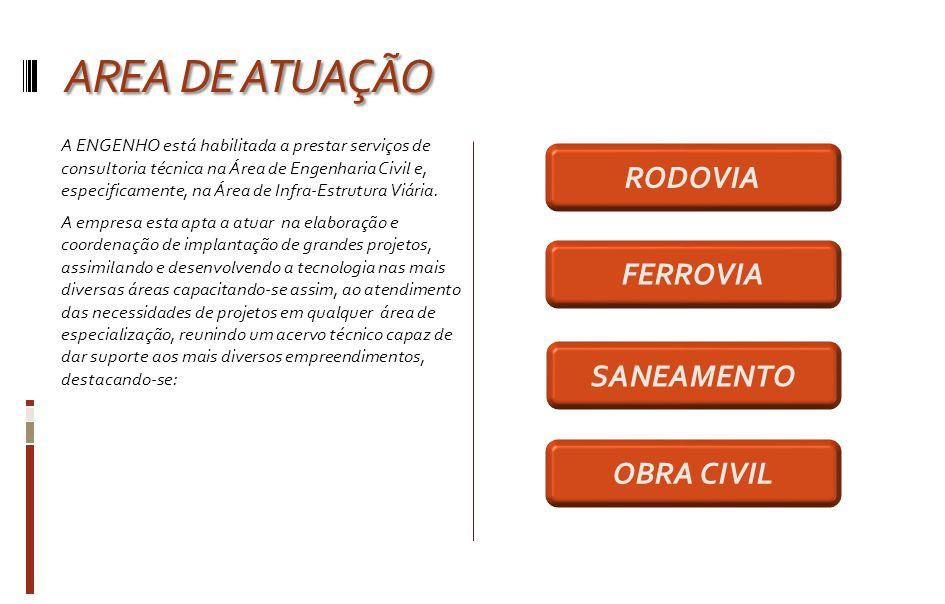 AREA DE ATUAÇÃO RODOVIA FERROVIA SANEAMENTO OBRA CIVIL