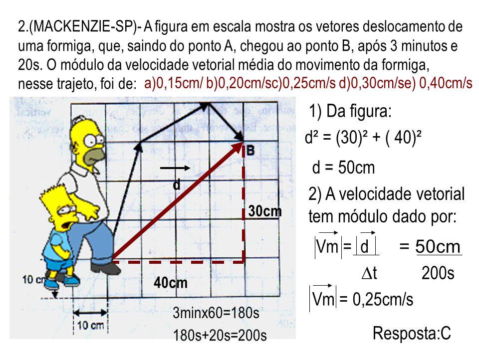 2) A velocidade vetorial tem módulo dado por: