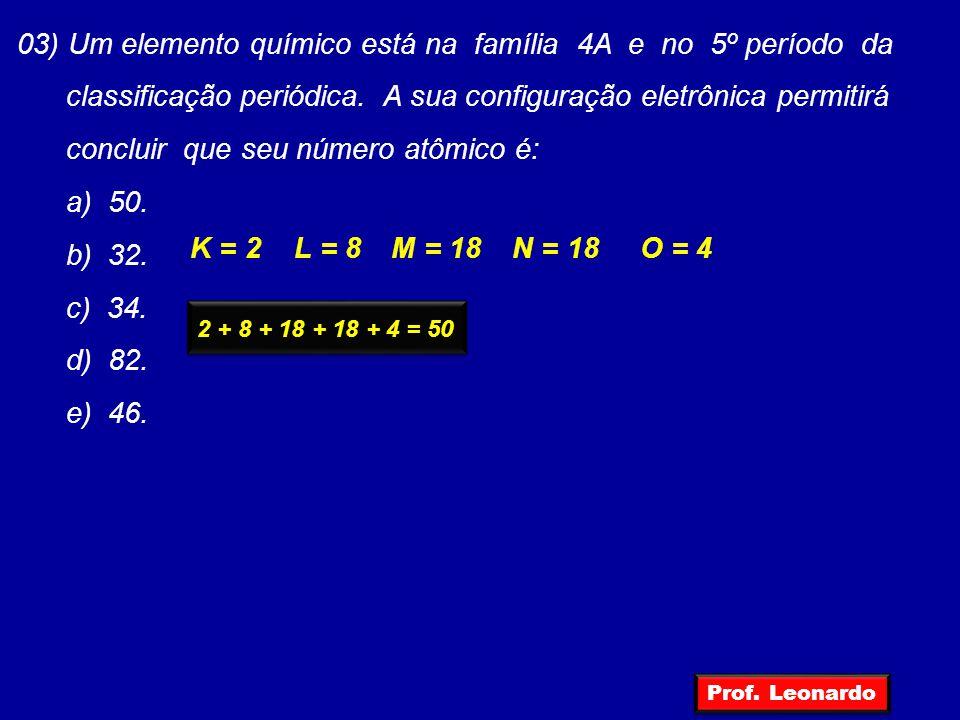03) Um elemento químico está na família 4A e no 5º período da