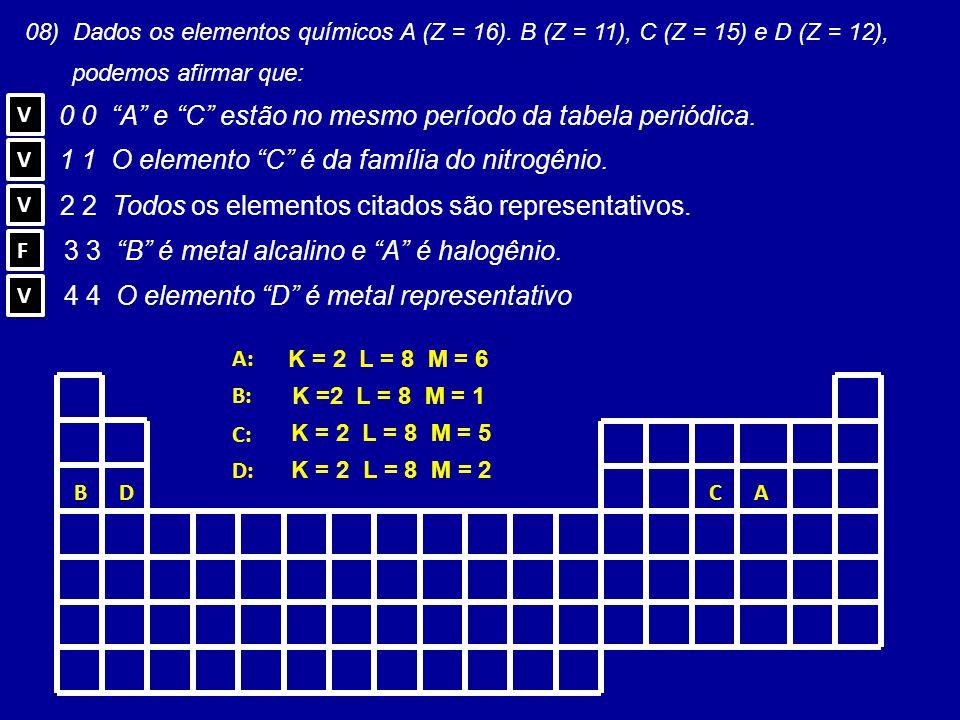 0 0 A e C estão no mesmo período da tabela periódica.