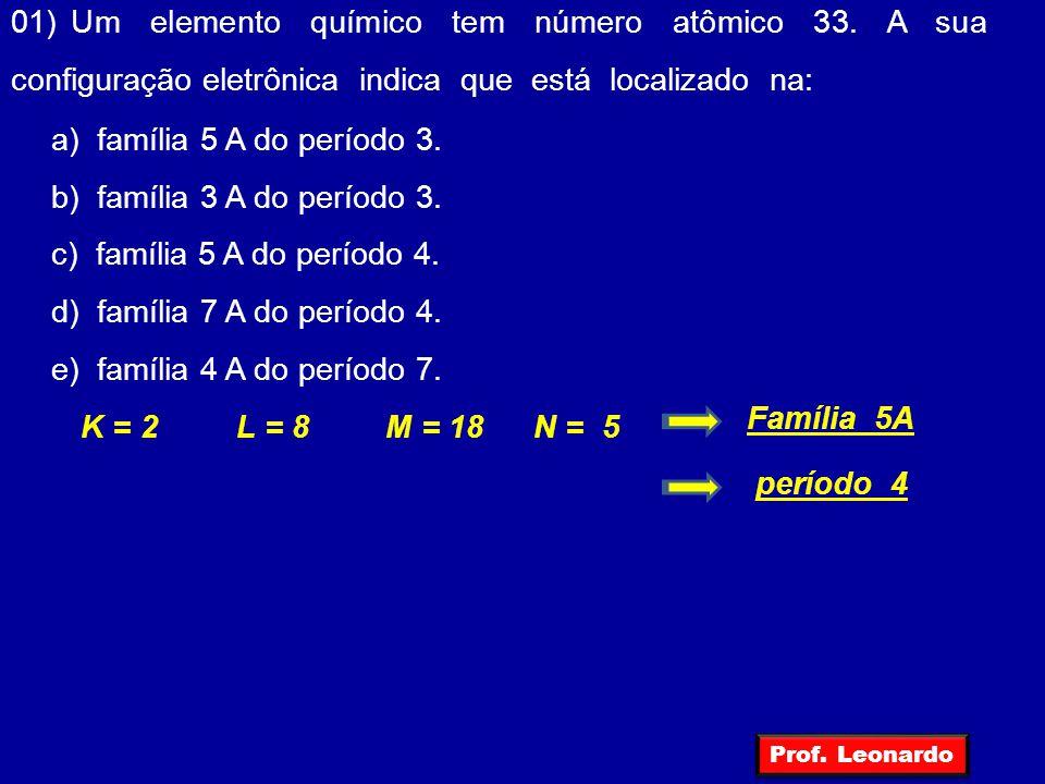 01) Um elemento químico tem número atômico 33