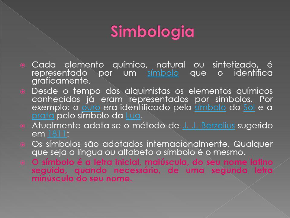 Simbologia Cada elemento químico, natural ou sintetizado, é representado por um símbolo que o identifica graficamente.