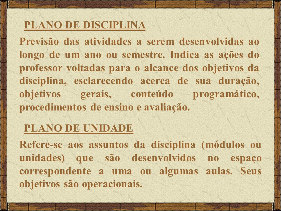 PLANO DE DISCIPLINA