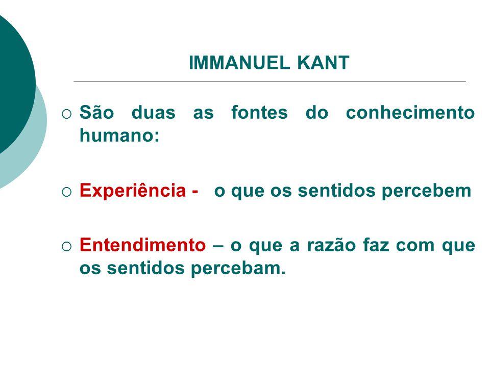IMMANUEL KANT São duas as fontes do conhecimento humano: Experiência - o que os sentidos percebem.
